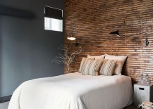 Wooden accent wall for the gray rustic bedroom