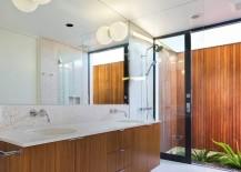 Wooden floating vanity in the bathroom