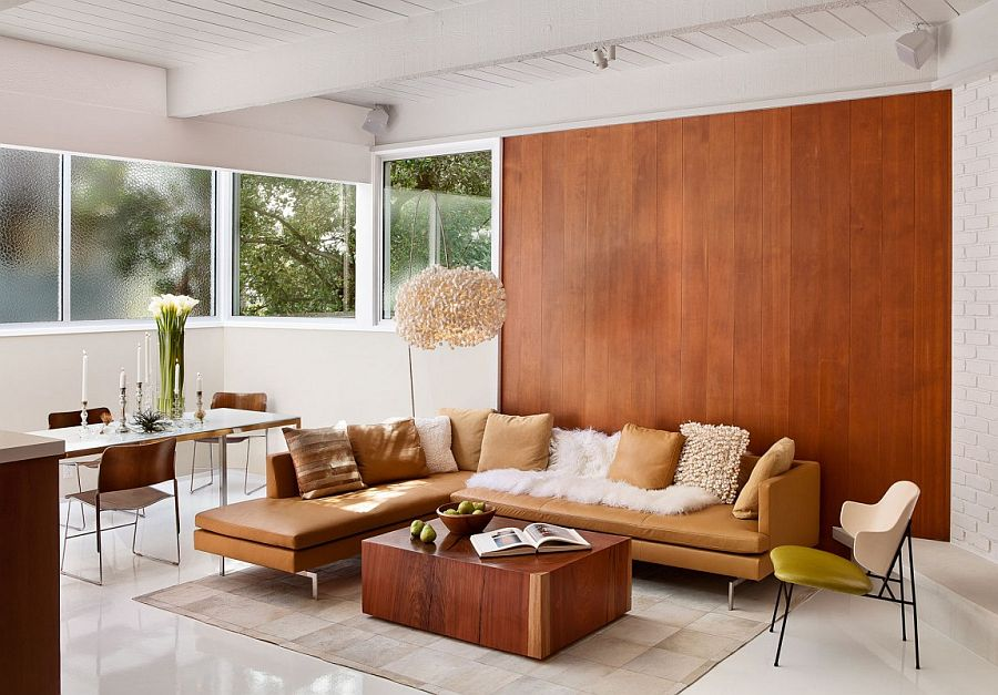 Wooden wall adds texture to midcentury living room