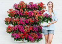 woman stands infront of floral vertical garden display