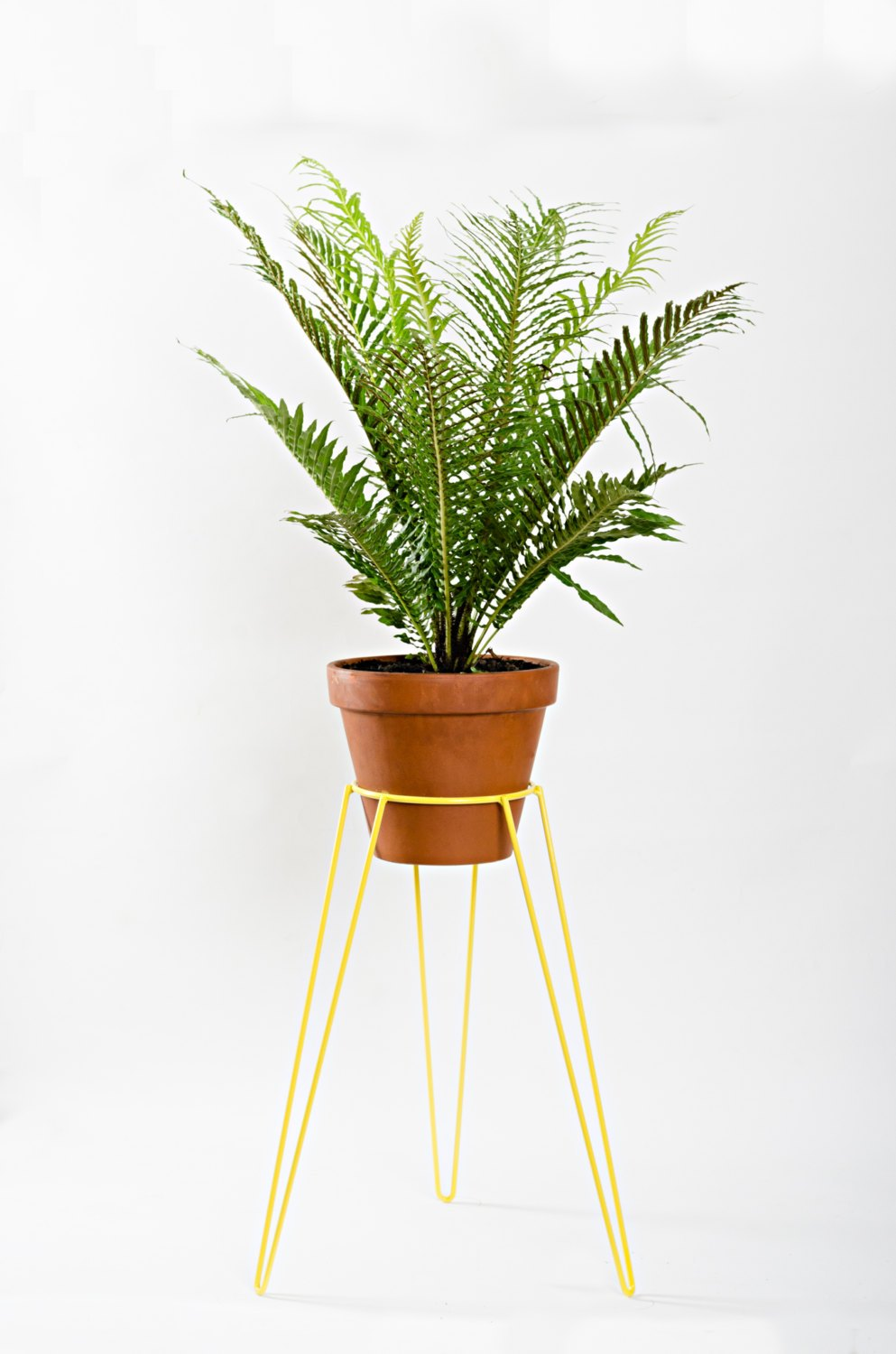 Yellow plant stand from Etsy shop WirelyHome