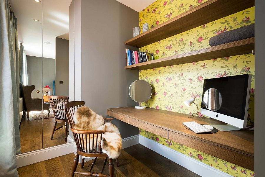 View In Gallery Yellow Wallpaper With Floral Pattern For The Home Workspace  [Design: Domus Nova]