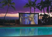 20-foot high-tech poolside screen with weather-sensitive features shapes a stunning outdoor theater
