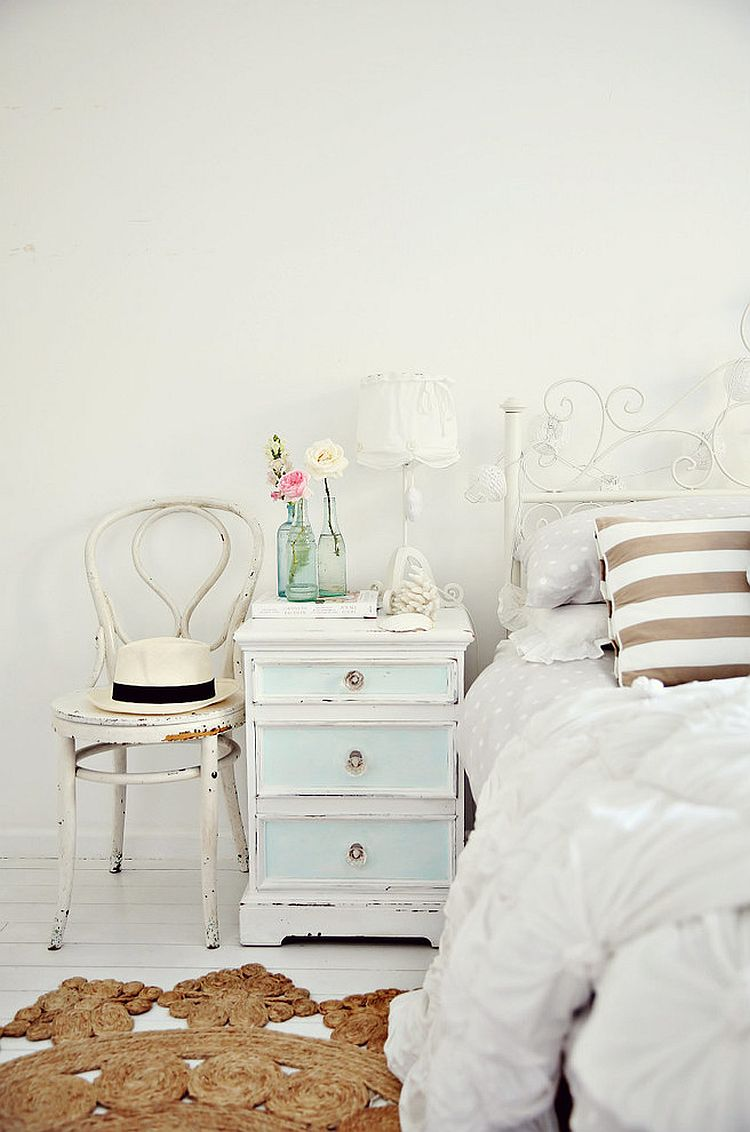 A beachy-vintage nightstand for the shabby chic interior [From: A Beach Cottage]