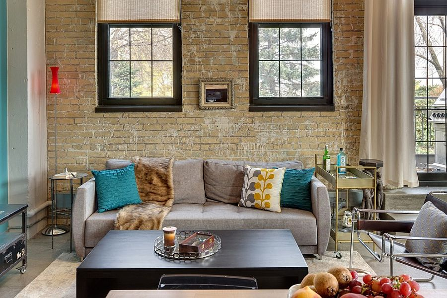 100 brick wall living rooms that inspire your design for Brick wall living room