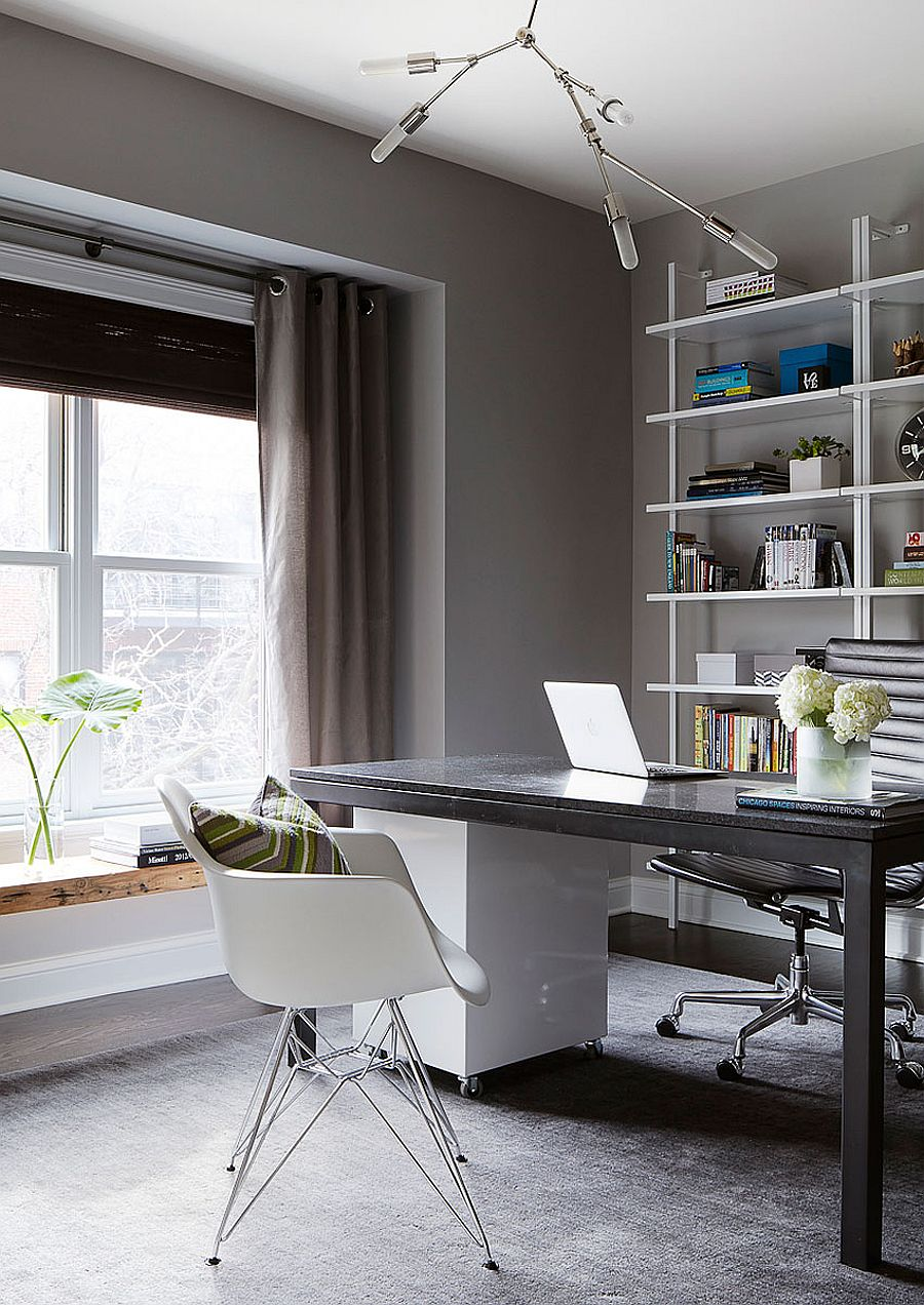 A warm, cozy home office design with neutral colors