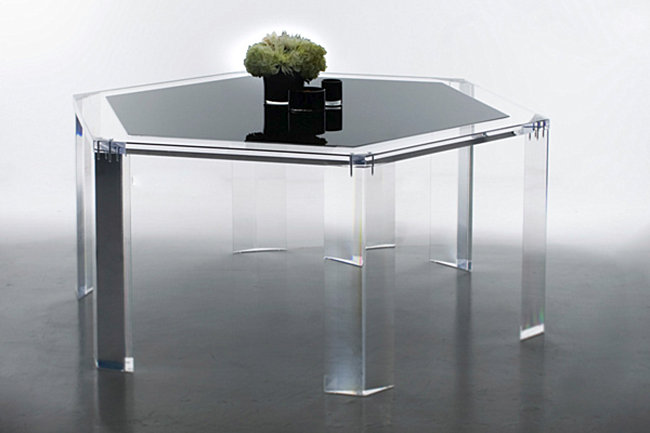 Acrylic dining table from Alexandra Von Furstenburg