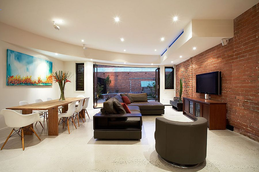 Add textural beauty to your living room with a cool brick wall [Design: S2 design]