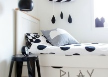 Adorable black and white rain cloud decor for a kids' bedroom
