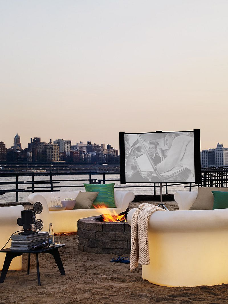 All you need is a small outdoor nook for a charming home theater under the sky [Design: Design Within Reach]