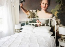 Amazing hand painted oil on canvas art piece adds color to an otherwise all-white bedroom