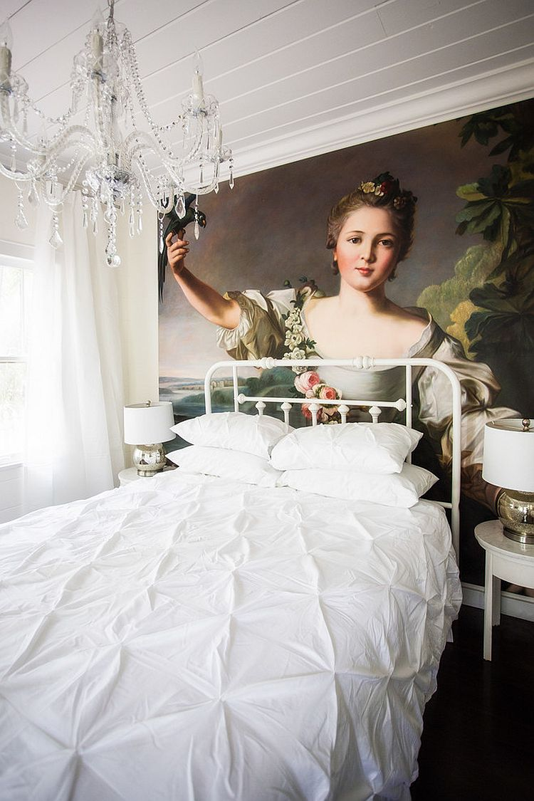 Amazing hand painted oil on canvas art piece adds color to an otherwise all-white bedroom [Design: Liquid Design & Architecture]