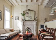 Antiques give the living room a sense of uniqueness