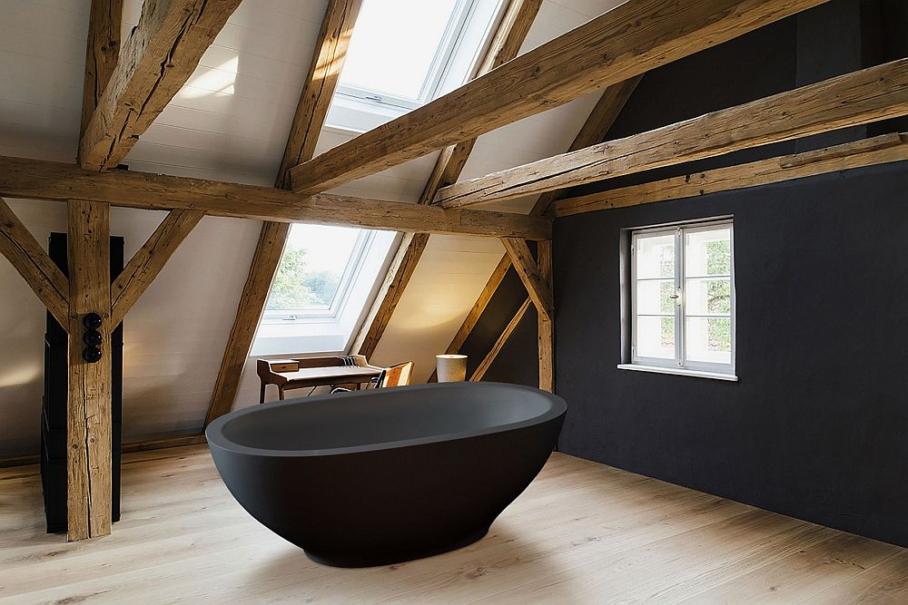 Aquatica Karolina Graphite Black Freestanding Stone Bathtub