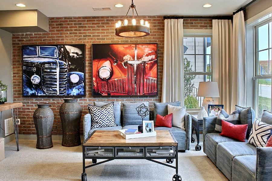 Art work, coffee table on wheels and vintage decor additions add texture to the small room [Design: M/I Homes]