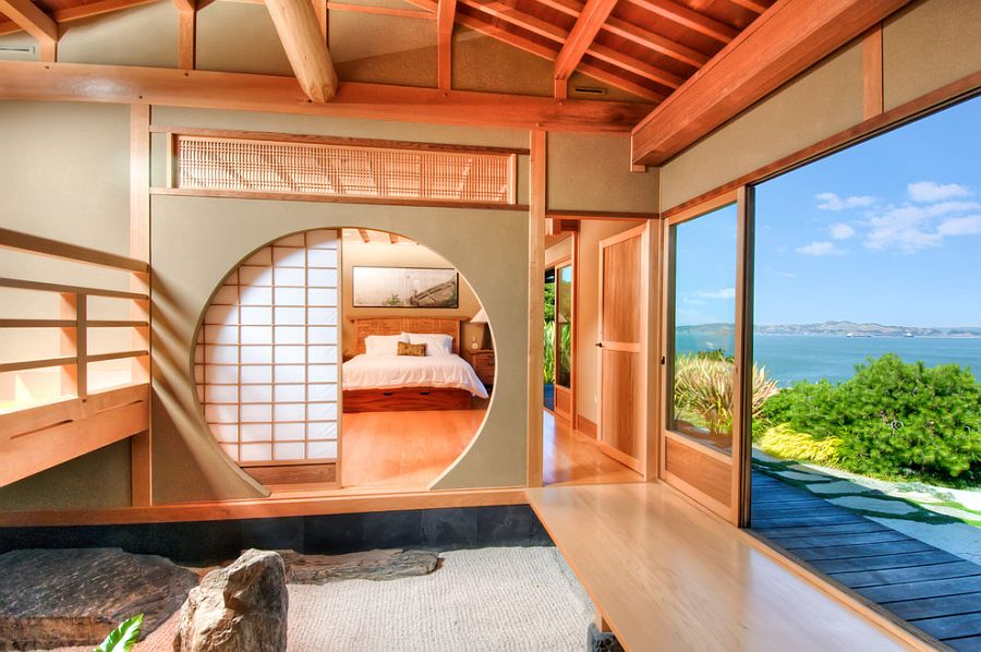 Asian bedroom utilizes the classic Shoji Screen [From: Decker Bullock Sotheby's International Realty]