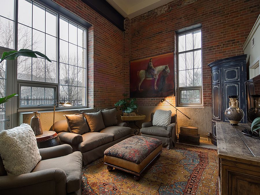 Asian Living Room With Red Brick Walls From Teri