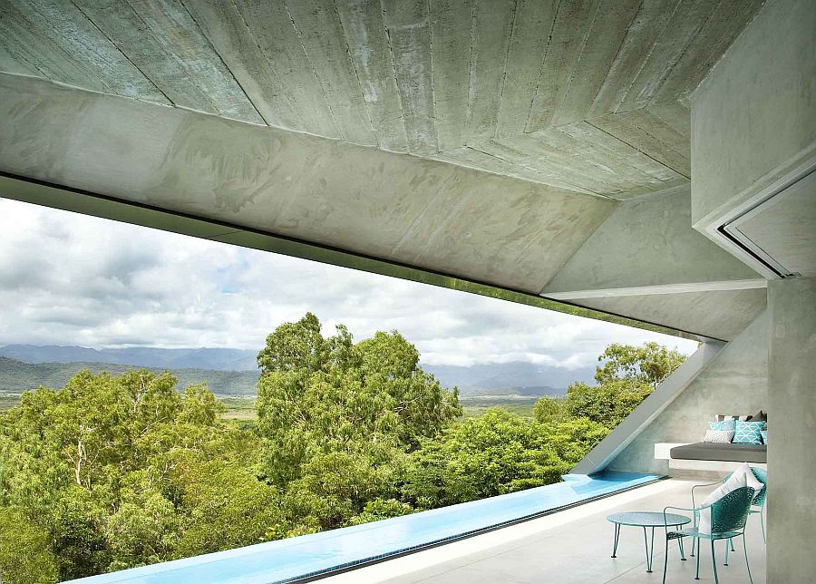 Balcony with infinity edge pool and floating day bed offers unabated ocean views