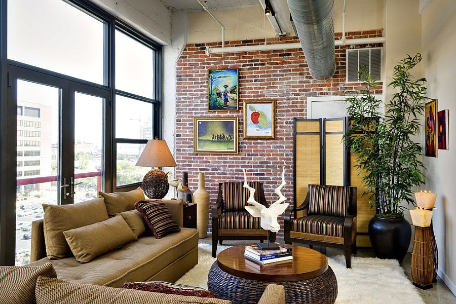 cool living rooms. View in gallery Bamboo a pot for the cool living room  Design Luv2Dezin 100 Brick Wall Living Rooms That Inspire Your Creativity
