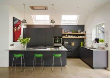 Bar-stools-and-poster-add-color-to-the-kitchen-in-gray-217x155