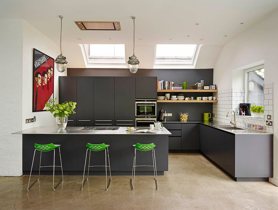 Bar stools and poster add color to the kitchen in gray