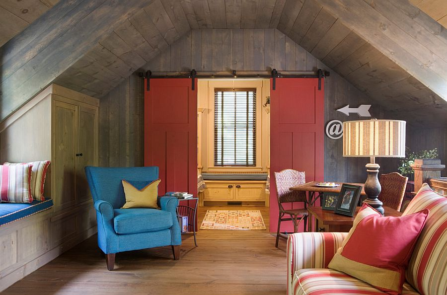 Barn doors bring color and creativity to the small space [Design: Our Town Plans]