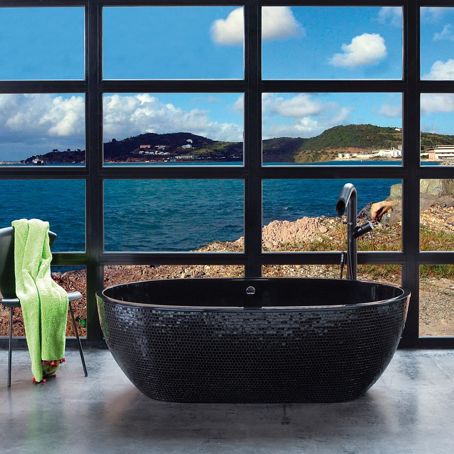 Beach style bathroom features a sizzling stone black bathtub [Design: PSCBath]
