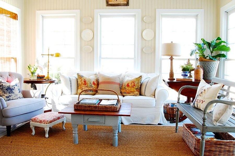 Beautiful french country flair of the shabby chic living room leaves you spellbound from
