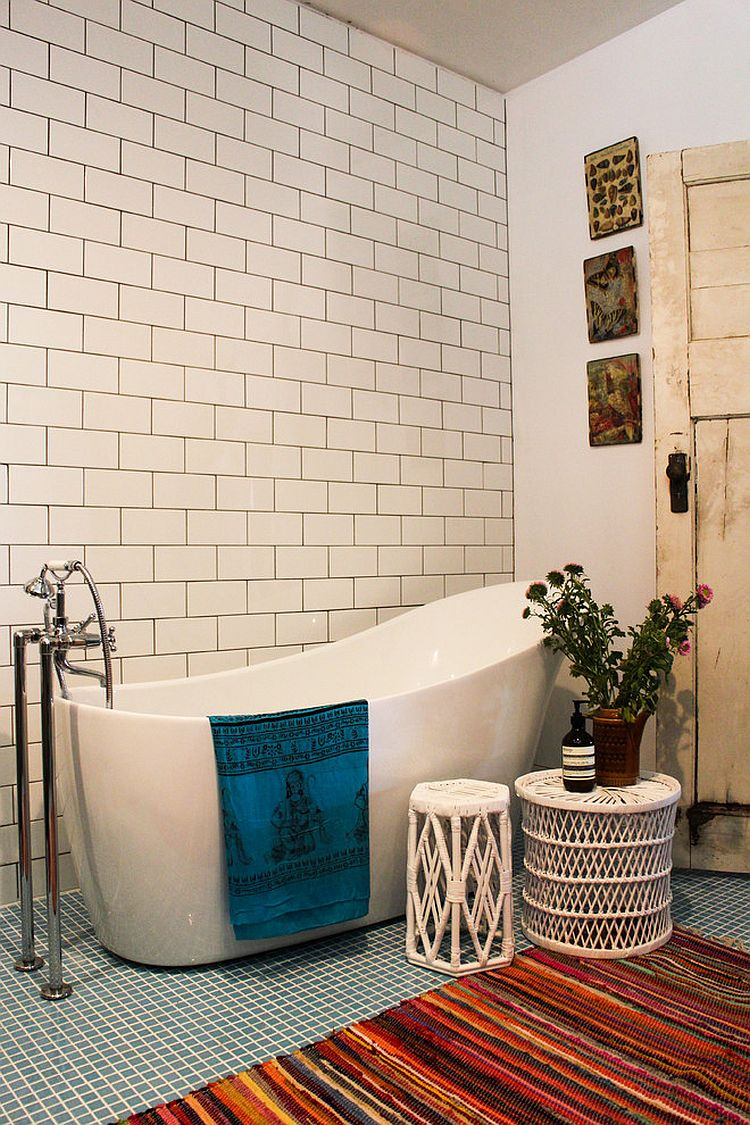 Beautiful bohemian touches bring warmth to the eclectic bathroom [Design: Alida And Miller]