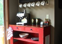 Beautiful red dresser:table used for coffee station