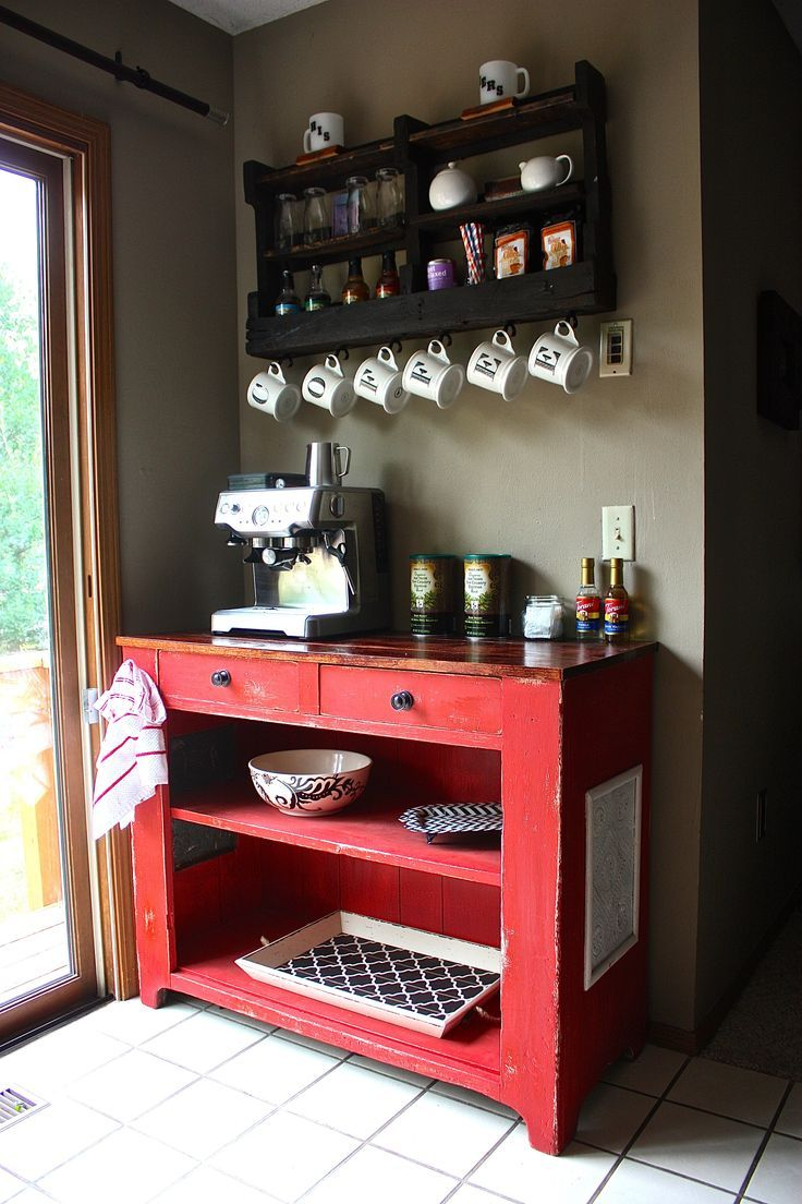 View In Gallery Beautiful Red Dressertable Used For Coffee Station
