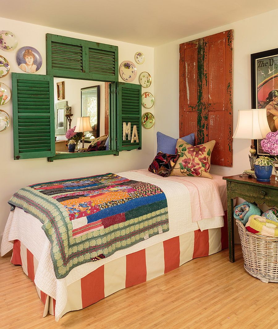Beautiful shutters, flea market finds and pops of color for the shabby chic bedroom [Design: Mary Ann Shaklan]