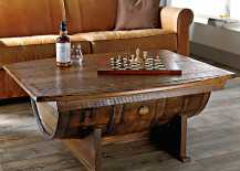 Beautiful wine barrel coffee table from The Wine Enthusiast 217x155 8 Stunning Uses for Old Wine Barrels