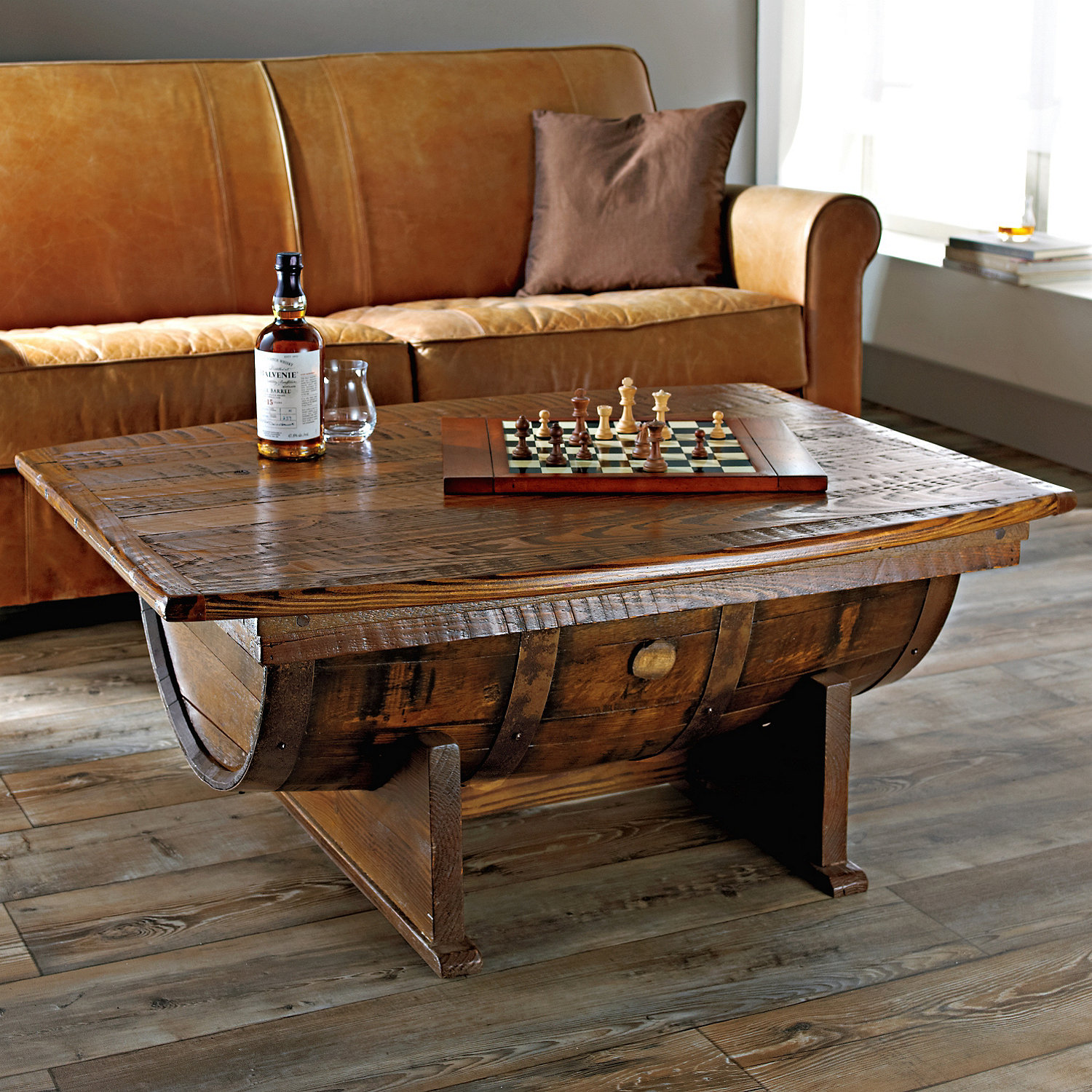 Beautiful wine barrel coffee table from The Wine Enthusiast