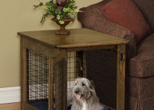 Beautiful wood dog crate that can be used as a side table