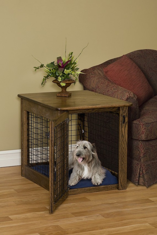View in gallery Beautiful wood dog crate that can be used as a side table - 15 Stylish Pet Beds That Also Serve As Great Looking Tables