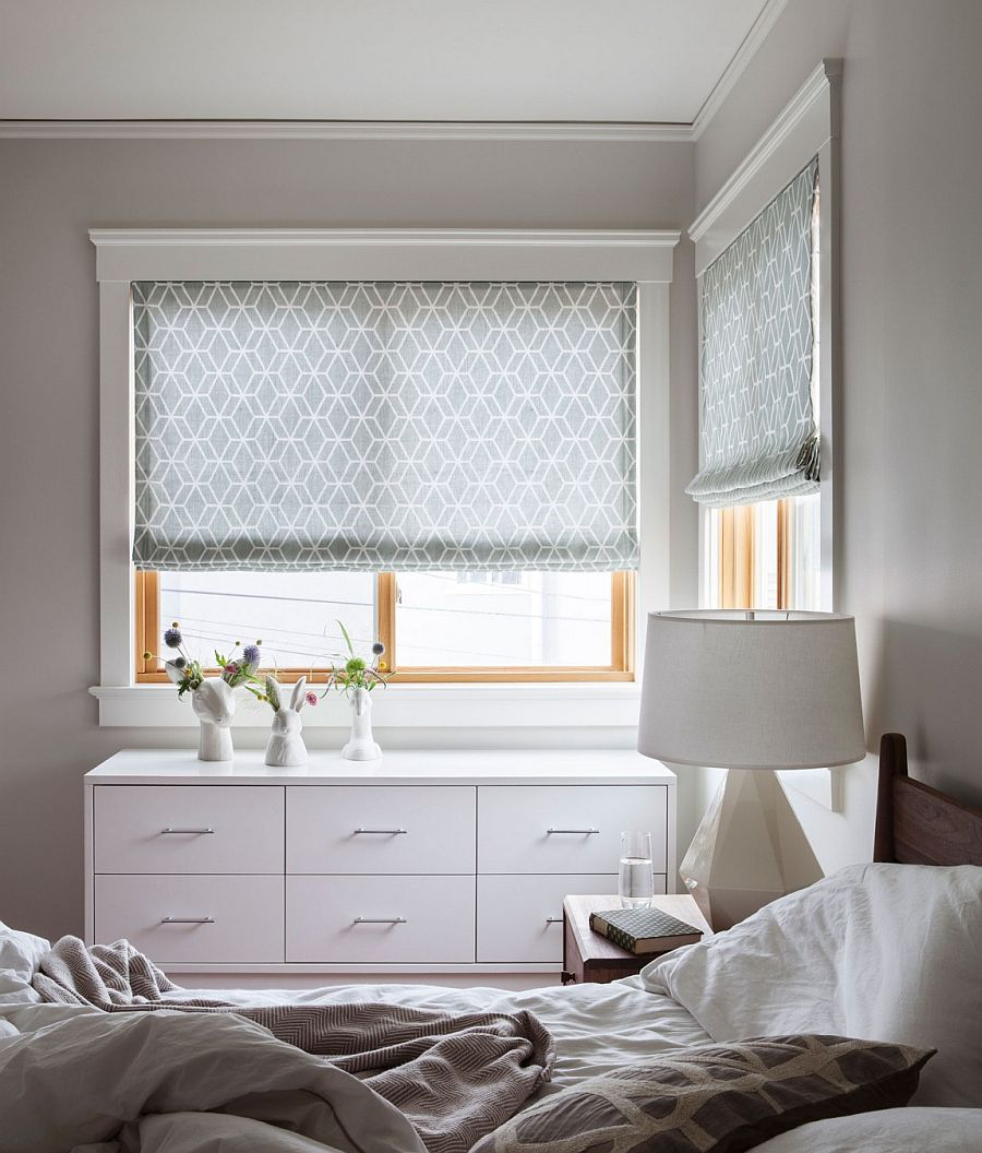 Bedroom in gray and white with a lovely dresser