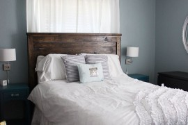 Bedroom with blue cloud, antique silver, and french gray colors
