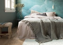 Bedroom with bright blue cloud wallpaper 217x155 15 Soothing Bedrooms That Take Inspiration from the Clouds