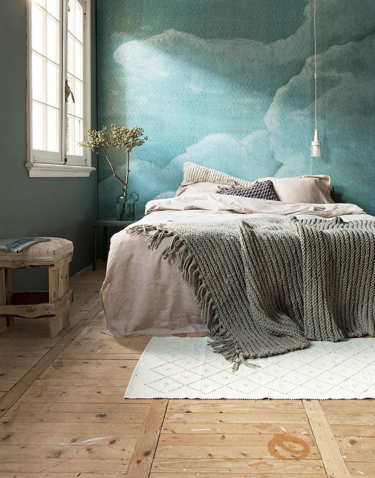 15 soothing bedrooms that take inspiration from the clouds for Bright bedroom wallpaper