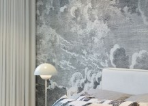 Bedroom with cloud wallpaper by Fornasetti at Cole & Son