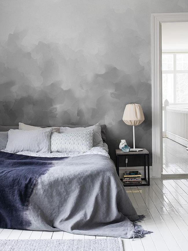 Bedroom with gray paint mimicking storm clouds