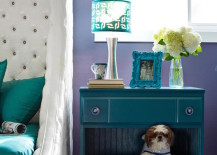Bedside table with a a built-in dog bed