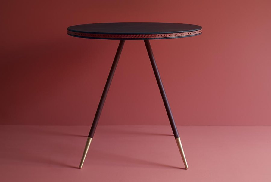 Bethan Gray dining table with a leather strip