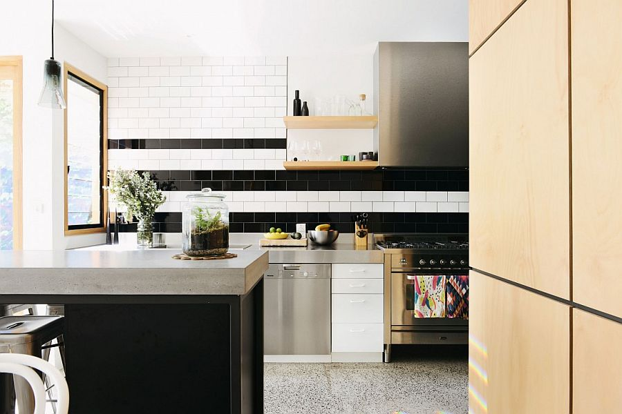 Black and white tiled backsplash for the contemporary kitchen