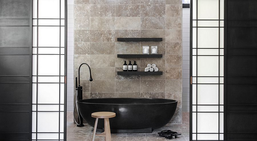 Black bathtub becomes the focal point of the contemporary bathroom [Design: D'Cruz Design Group Sydney Interior Designers]