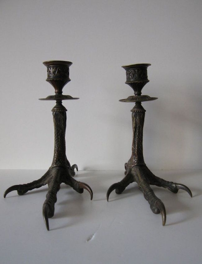 Black bird feet candle holders