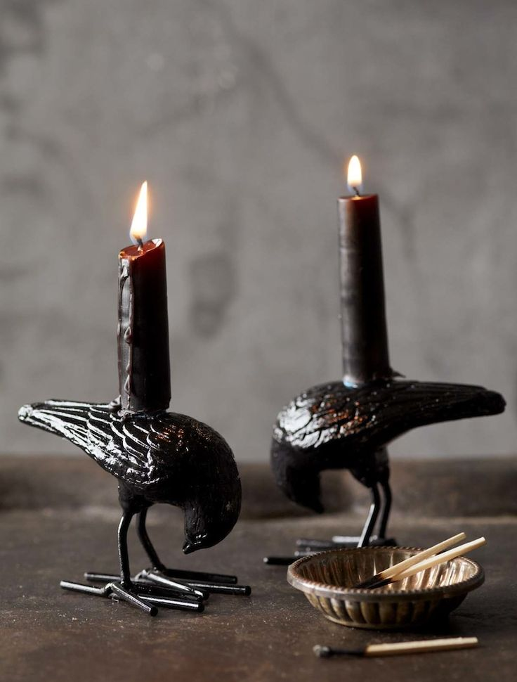 Black raven candle holders