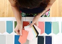 Blogger Elsie Larson selects paint sample cards for her color story
