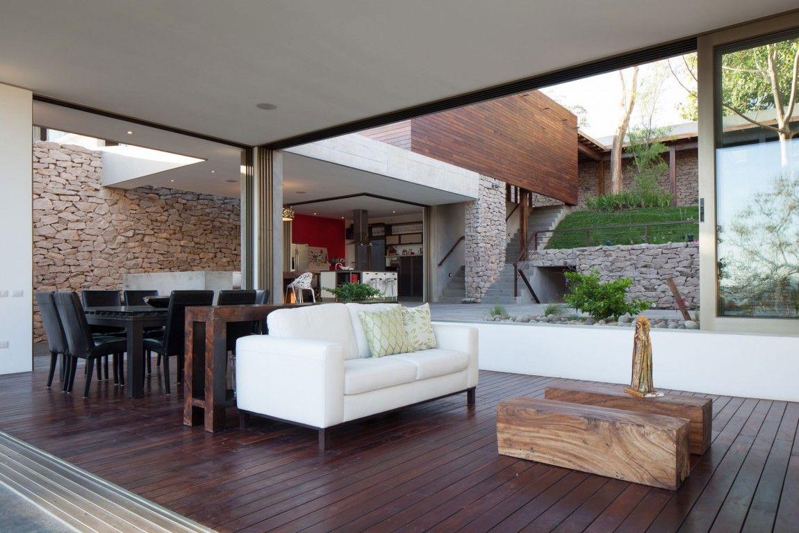 indoor outdoor home design multi level garden house in el salvador. Black Bedroom Furniture Sets. Home Design Ideas